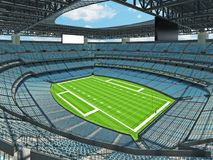 Modern American football Stadium with sky blue seats Royalty Free Stock Images