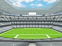 Modern American football Stadium with white seats. 3D render of beautiful modern large empty American football stadium with white seats and VIP boxes for hundred Stock Photos
