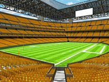 Modern American football Stadium with yellow seats. 3D render of beautiful modern large empty American football stadium with yellow seats and VIP boxes for Stock Image