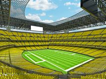 Modern American football Stadium with yellow seats. 3D render of beautiful modern large empty American football stadium with yellow seats and VIP boxes for Stock Photo
