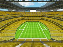Modern American football Stadium with yellow seats. 3D render of beautiful modern large empty American football stadium with yellow seats and VIP boxes for Royalty Free Stock Images