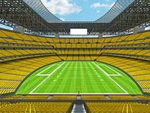 Modern American football Stadium with yellow seats. 3D render of beautiful modern large empty American football stadium with yellow seats and VIP boxes for Royalty Free Stock Photography