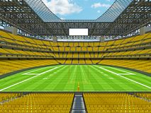 Modern American football Stadium with yellow seats. 3D render of beautiful modern large empty American football stadium with yellow seats and VIP boxes for Stock Photos
