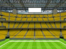 Modern American football Stadium with yellow seats. 3D render of beautiful modern large empty American football stadium with yellow seats and VIP boxes for Stock Images