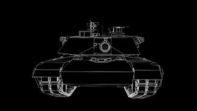 Modern American tank. Three-dimensional illustration of the contour lines stock video