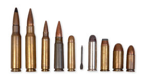 Modern ammunition types Royalty Free Stock Photos