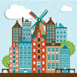 Modern Amsterdam city Skyline Design. Modern Amsterdam vector city Skyline Design. Netherlands vector illustration