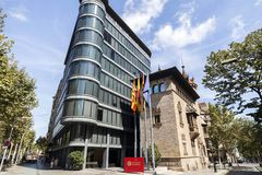 Modern and ancient architecture,Can Serra palace by Josep Puig i. Cadafalch and annex building by F.Correa and A.Mila,Eixample district,hosts Diputacio of Royalty Free Stock Photography
