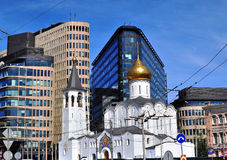 Modern and ancient architecture of Moscow Royalty Free Stock Image