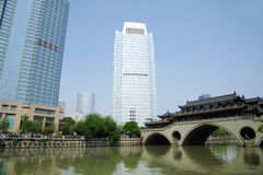 Modern and ancient building in Chengdu Stock Photo