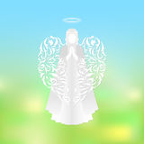Modern angel silhouette with ornaments wings Royalty Free Stock Photo