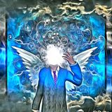 Modern angel. Surreal painting. Faceless man in suit with white wings. Clouds on a background. Human elements were created with 3D software and are not from any royalty free illustration