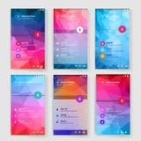 Modern användargränssnittskärmmall för mobil royaltyfri illustrationer