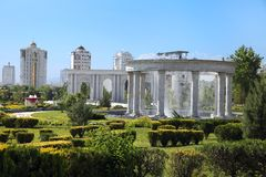 Modern apartamentes behind a young park with fountain complex. Ashkhabad. Turkmenistan royalty free stock photo