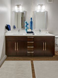 Modern Apartment Bathroom. Dark wood cabinets accent this modern home bathroom remodel. Stainless steel fixtures with light colored sinks and counter tops Royalty Free Stock Images