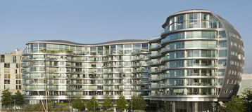 Modern Apartment Building. Modern, new executive apartments building at London stock images
