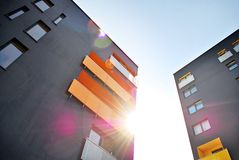 Modern apartment building. S exteriors in sunny day Stock Photo