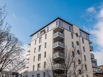 Modern Apartment Building with Corner Balconies Royalty Free Stock Photography