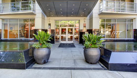 Modern apartment building entrance. Exterior. Stock Photo