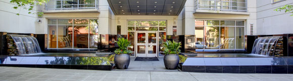 Modern apartment building entrance. Exterior. Stock Photos