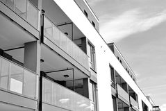 Modern apartment building exterior. Black and white. Facade of a modern apartment building. Black and white Stock Photos