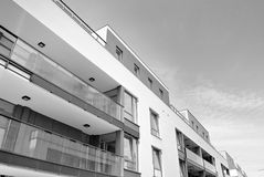 Modern apartment building exterior. Black and white. Facade of a modern apartment building. Black and white Royalty Free Stock Photos
