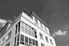 Modern apartment building exterior. Black and white. Facade of a modern apartment building. Black and white Stock Photo