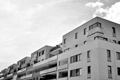 Modern apartment building exterior. Black and white. Facade of a modern apartment building. Black and white Stock Image