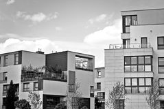 Modern apartment building exterior. Black and white. Facade of a modern apartment building. Black and white Stock Photography