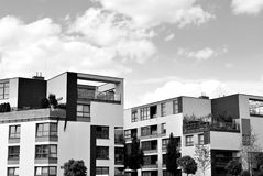 Modern apartment building exterior. Black and white. Facade of a modern apartment building. Black and white Royalty Free Stock Photography