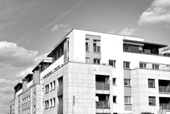 Modern apartment building exterior. Black and white. Facade of a modern apartment building. Black and white Stock Images