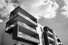 Modern apartment building exterior. Black and white. Facade of a modern apartment building. Black and white Royalty Free Stock Photo