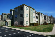 Modern apartment building exterior and surrounding environment Royalty Free Stock Photo
