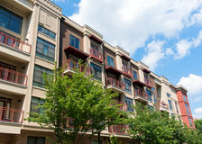 Modern apartment building. Modern apartment  building exterior with trees Stock Photography