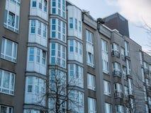 Modern Apartment Building with Gray Facade Stock Photo
