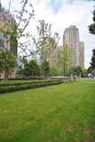 Modern apartment building with green grass Stock Photo