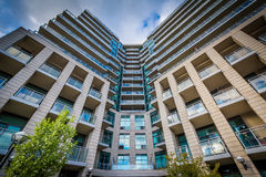Modern apartment building at the Harbourfront, in Toronto, Ontar. Io Royalty Free Stock Photography