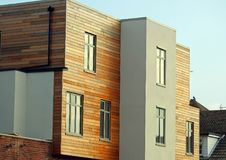 Modern apartment building home green eco Stock Photo
