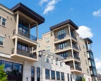 Modern apartment building. Modern apartment mixed-use building exterior Stock Photos