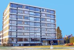 Modern apartment building old age people elderly care, Netherlands Royalty Free Stock Image