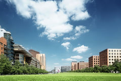 Modern apartment building in park, Berlin Stock Photography