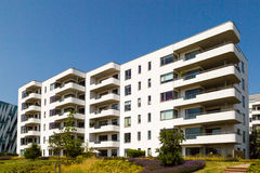 Modern apartment building. Modern residential building on a sunny summer day in Hellerup, a suburb of Copenhagen, Denmark royalty free stock photo