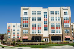 Modern apartment building. Modern  apartment building in suburban area in spring time Stock Photography