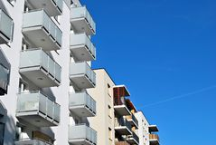 Modern, Luxury Apartment Building against blue sky Royalty Free Stock Image