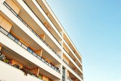 Modern, Luxury Apartment Building against blue sky Royalty Free Stock Images