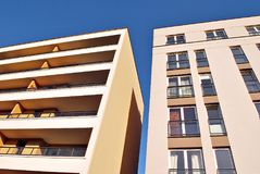 Modern, Luxury Apartment Building against blue sky Royalty Free Stock Photo
