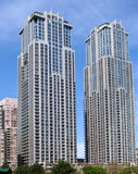 Modern apartment building twin towers Stock Photos