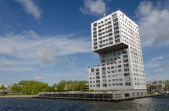Modern apartment building at Weer water in Almere Stad Royalty Free Stock Photography