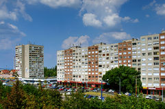 Modern apartment buildings, Budapest, Hungary. Outside of modern apartment buildings in Budapest, Hungary on sunny day Royalty Free Stock Photo