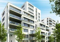 Modern apartment buildings in the city. Modern design apartment buildings in the city royalty free stock photos
